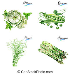 Set of organic food - Watercolor set of organic food...