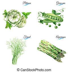 Set of organic food - Watercolor set of organic food...
