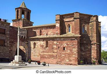 Santa Maria church in Prades, Spain - a side view of the...