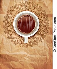 vector background with a cup of coffee and an openwork pattern on vintage paper