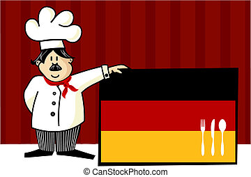 Chef of german cuisine Food, restaurant, menu design with...
