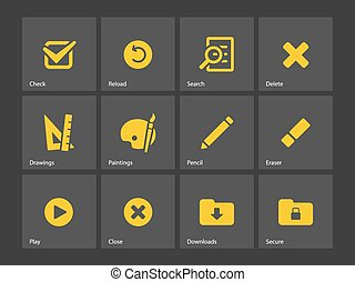 Application interface icons. - Application interface icons...