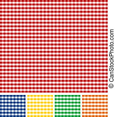 Picnic Tablecloth Texture - Cross-weave Gingham Seamless...