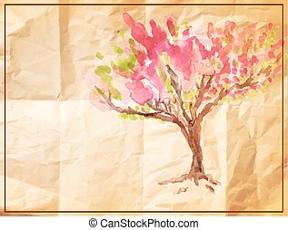 vector tree painted on old crumpled paper