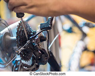Repair of a bicycle concept.  Bike workshop illustraion