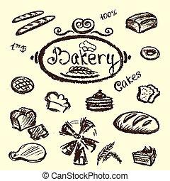 bakery set elements chalkboard, vector.