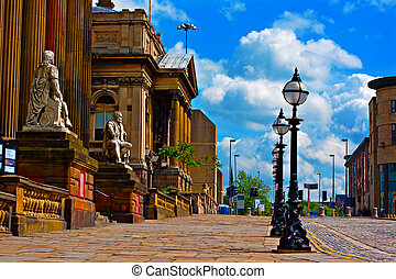 Historic architecture in William Brown St Liverpool UK