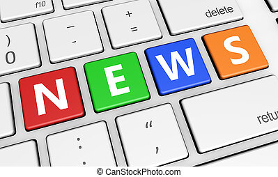 News Sign On Keyboard - Digital media and online information...
