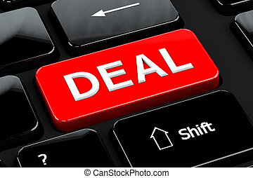 Deal on computer keyboard background