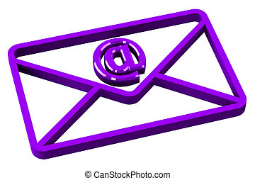 Purple envelope with sign e-mail