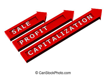 Red arrows with words, sale, profit, capitalization