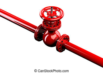 Pipeline with valve, isolated on white background 3D render...