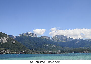 Lake of Annecy and Forclaz mountain, in france - Overview of...