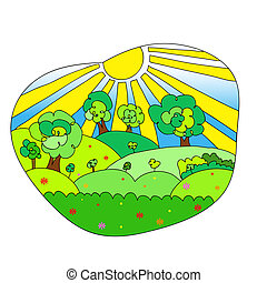 Hand drawn landscape with agrarian fields. - Hand drawn...