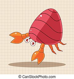 Hermit crabs theme elements