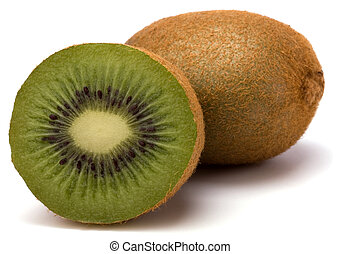 kiwi, blanc,  fruit, isolé, fond