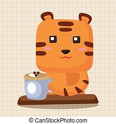 animal tiger having afternoon tea theme elements