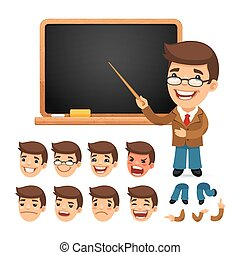 Set of Cartoon Teacher Character for Your Design or...