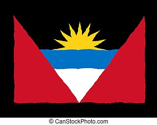 Handdrawn flag of Antigua Barbuda