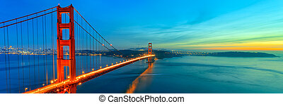 Golden Gate Bridge sunset, San Francisco California