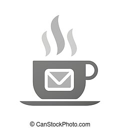 Cup of coffee icon  with an envelope