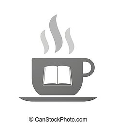 Cup of coffee icon  with a book