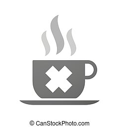 Cup of coffee icon with an irritating substance sign -...