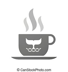 Cup of coffee icon  with a whale tail