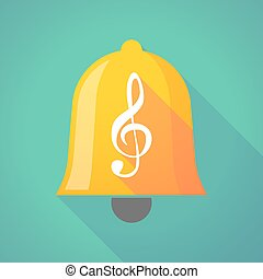 Bell icon with a g clef - Illustration of a long shadow bell...