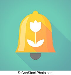 Bell icon with a tulip - Illustration of a long shadow bell...