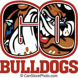 go bulldogs school design with mascot
