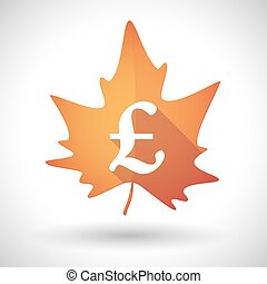 Autumn leaf icon with a pound sign - Illustration of an...