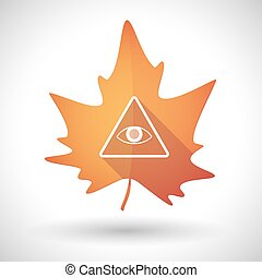 Autumn leaf icon with an all seeing eye - Illustration of an...