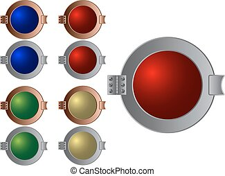 Glass metal buttons