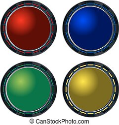 Glass metal buttons