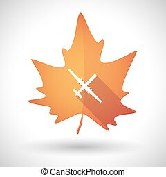 Autumn leaf icon with a war drone - Illustration of an...