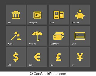 Banking icons. Vector illustration.