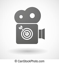 Cinema camera icon with a dart board - Illustration of an...