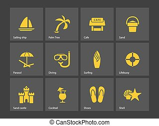 Beach icons Vector illustration