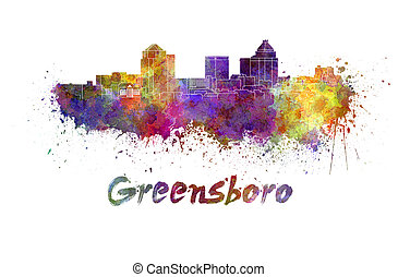 Greensboro skyline in watercolor splatters with clipping...