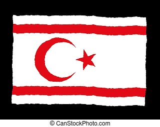 Handdrawn flag of Turkish Republic Northern Cyprus
