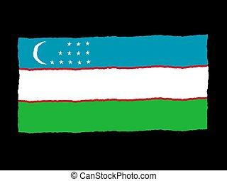 Handdrawn flag of Uzbekistan