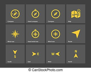 Compass icons. Vector illustration.