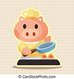 animal pig chef cartoon theme elements