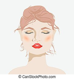 young woman with red lips