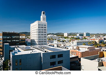View of buildings in Santa Monica, California.