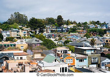 View above houses in Capitola, California