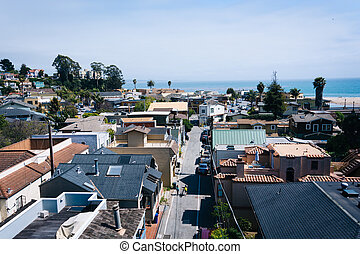 View above houses in Capitola, California.