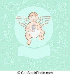 card for newborn boycard for newborn boy, colorful vector...