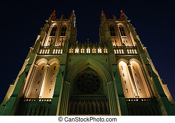 The National Cathedral at night, in Washington, DC.